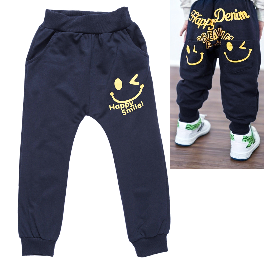Smile Face Print Elastic Boy Pant Spring Summer Casual Cotton Long Trousers Bottoms Pants For Boys Children