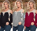 Hot sale Newest Fall Women Lace Sexy Strapless Hollow Out Blusas V-Neck Long Sleeve Tops Elegant Shirt Plus Size 5XL- R130
