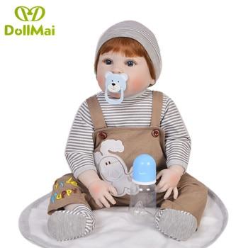 23 Inch Boneca bebes reborn boy Full Body Silicone Vinyl Reborn Babies Dolls 57 cm Realistic menino Newborn Dolls Children gift