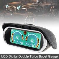 12V / 24V LCD Digital Racing Gauge Display Turbo Boost Gauge Meter Double Barometer Boost Controller Kit for Car Truck
