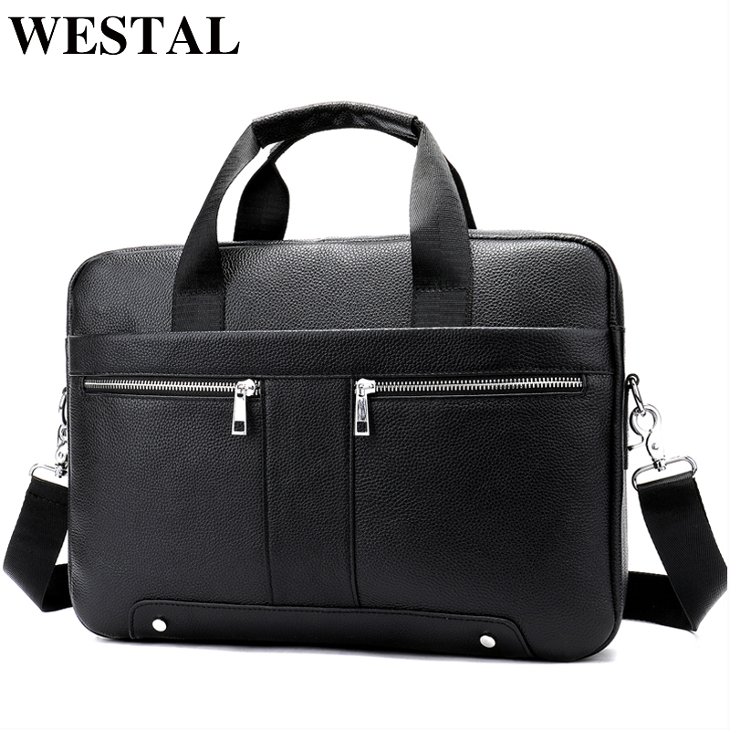 WESTAL Bag For Men Genuine Leather Men's Briefcase Leather 14 Laptop Bag For A4 Document Bussiness Tote Fashion Briefcase 8522
