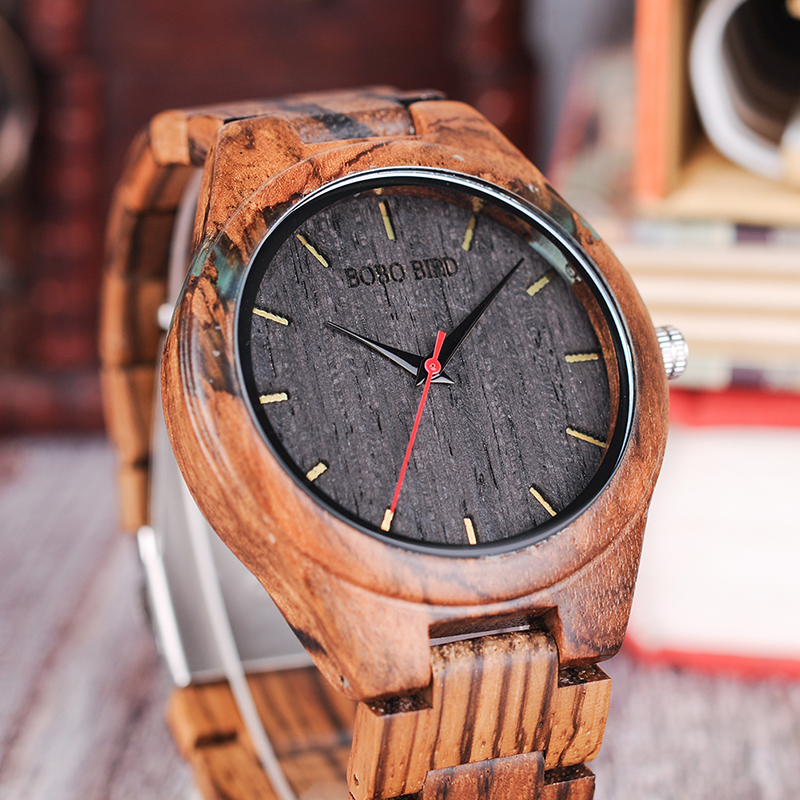 BOBO BIRD Men's Zebrawood and Resin Wooden Watch
