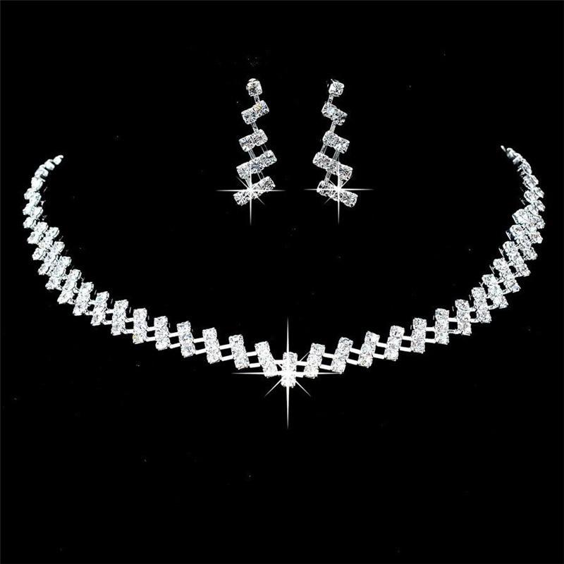 Jóias de casamento de cristal presentes de noiva gargantilha colar brincos conjunto conjuntos de jóias de casamento noivas venda quente conjuntos de jóias de casamento