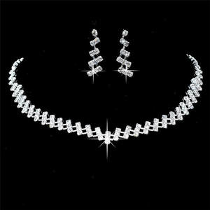 Earrings-Set Choker Necklace Wedding-Jewelry Crystal Brides Hot-Selling