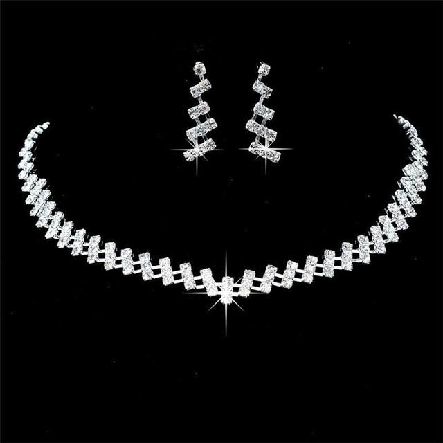 Wedding Jewelry Crystal Bridal Gifts Choker Necklace Earrings Set Wedding Jewelr