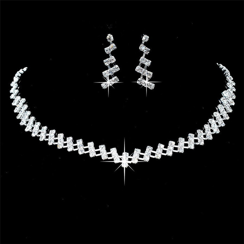 Earrings-Set Necklace Choker Wedding-Jewelry Crystal Gifts Brides Hot-Selling title=