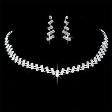Wedding Jewelry Crystal Bridal Gifts Choker Necklace Earrings Set Wedding Jewelry Sets Brides Hot Selling Wedding Jewelry Sets(China)