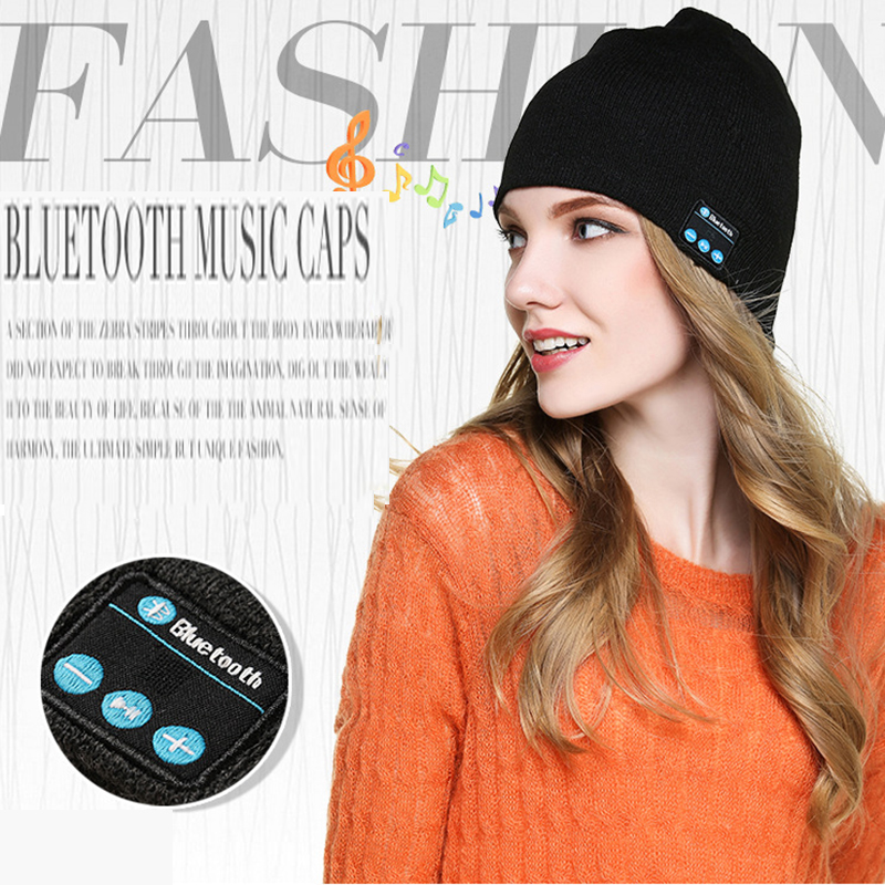 Warm Fashion Hat Cap Wireless Bluetooth Earphone Smart Headset headphone Speaker Mic Winter Outdoor Sport Stereo Music Hat princess hat skullies new winter warm hat wool leather hat rabbit hair hat fashion cap fpc018
