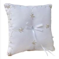 1 pc Bordado Do Vintage Contas De Costura Strass Anel De Casamento Travesseiro com Lace Flower Decor Nupcial Mariage Decoração 20*20 cm