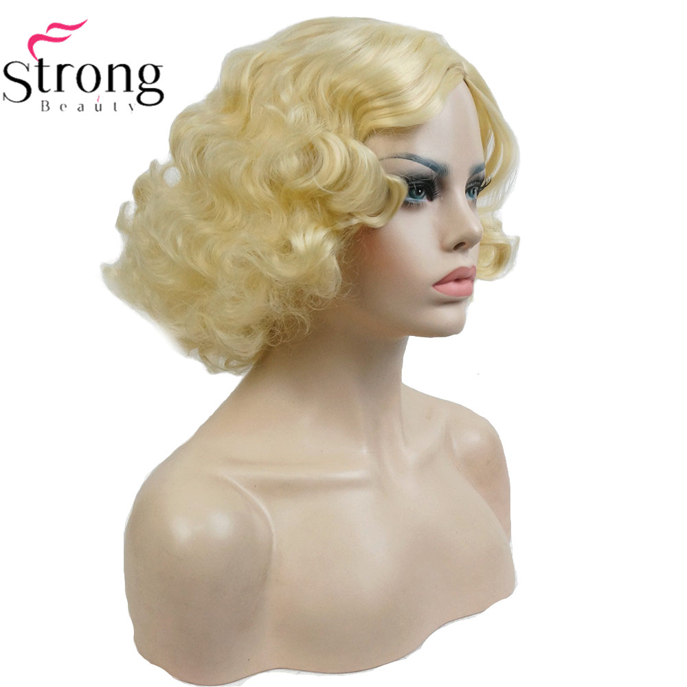 StrongBeauty Copper/Blond Flapper Hairstyle Short Curly Hair Women's Synthetic Capless Wigs