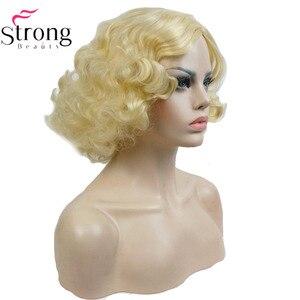 Image 5 - StrongBeauty 銅/ブロンドフラッパー髪型ショートカーリー女性の合成キャップレスかつら