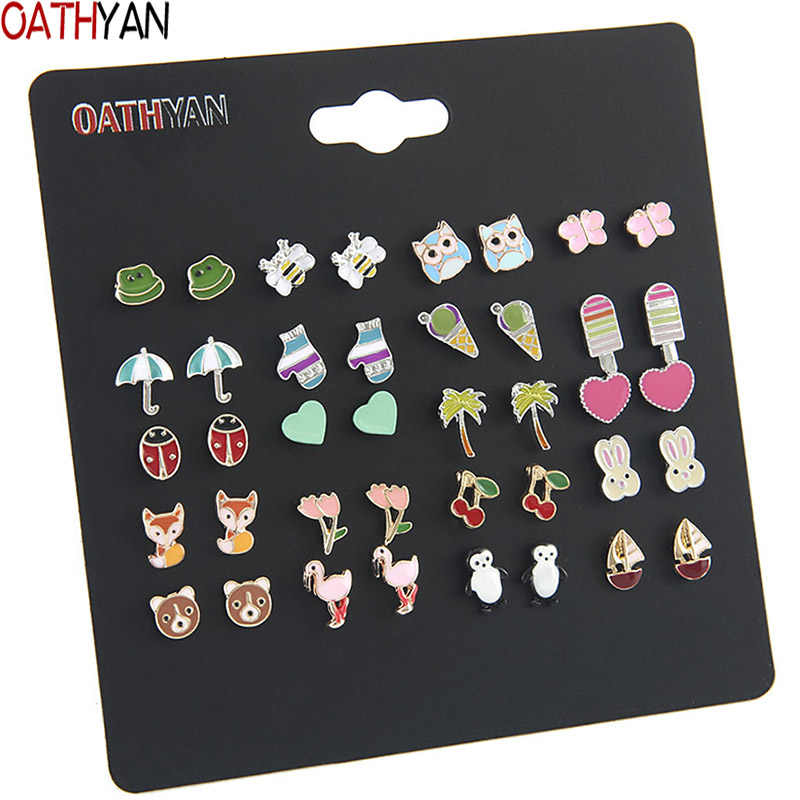 OATHYAN 20 Pairs/set Women's Cute Colorful Enamel Animal Flamingo Fox Bear Stud Earrings Set Mix Girl Insect Bee Ladybug Earring