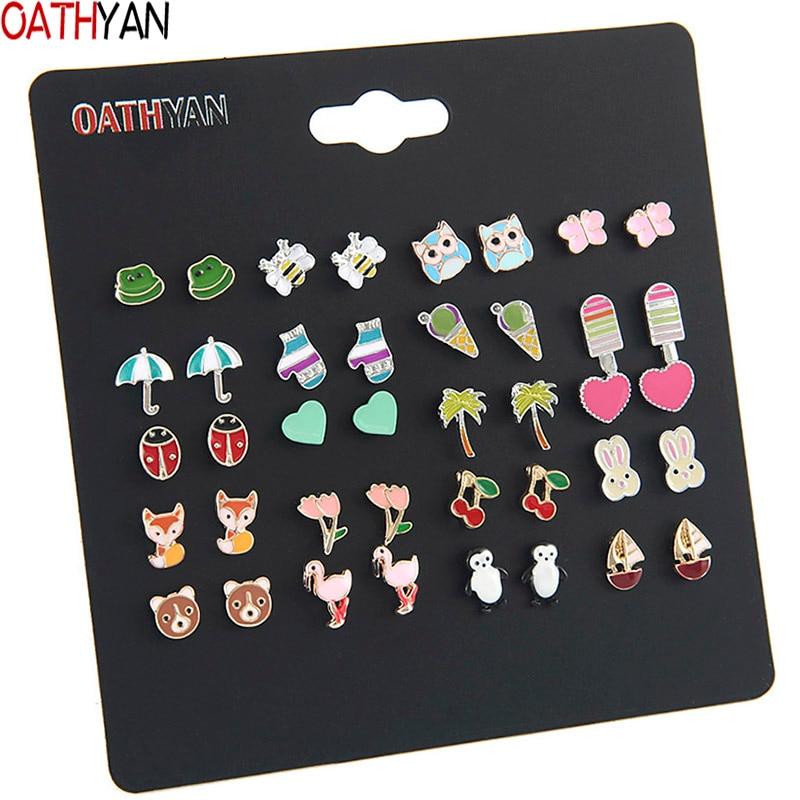 OATHYAN 20 Pairs/set Women's Cute Colorful Enamel Animal Flamingo Fox Bear Stud Earrings Set Mix Girl Insect Bee Ladybug Earring