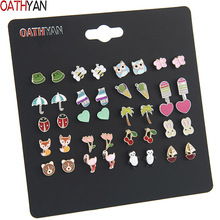 OATHYAN 20 Pairs/set Women's Cute Colorful Enamel Animal Flamingo Fox Bear Stud