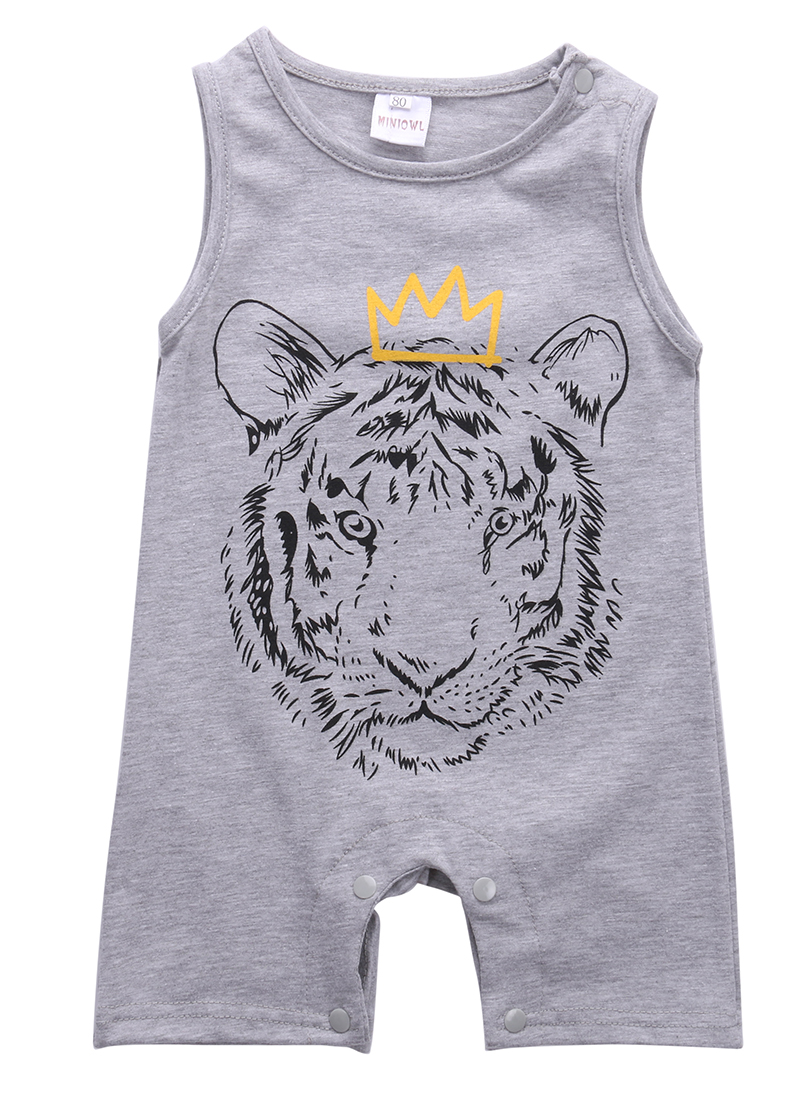 Summer 2016 Newborn Baby Boys Clothes Tiger Sleeveless ...