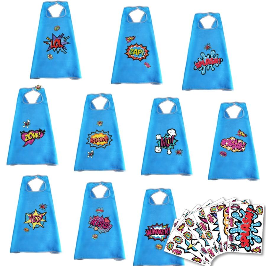 Mode Stijl 10 Pcs Speciale 70*70 Cm 24 Uur Schip Out Lichtblauw Capes En Stickers Party Geschenken Creatieve Educatief Speelgoed Kids Anime Kostuum