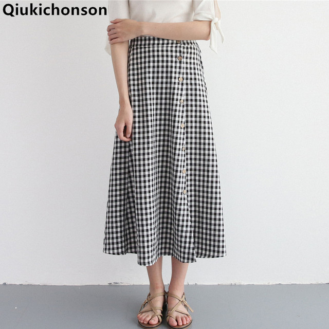 b2e2f2916e Qiukichonson plaid skirts long for women 2018 Spring Summer Literary  Vintage Mori Girl Button Skirt Preppy Style checkered skirt