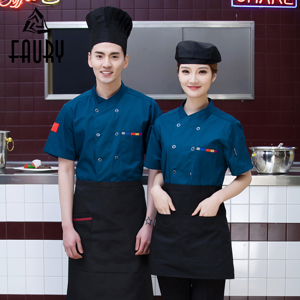 Unisex Short Sleeve Summer Catering Food Service Cozinha Sushi Chef Kitchen Cooking Uniforms Work Wear Jacket Bakery Waiter Tops