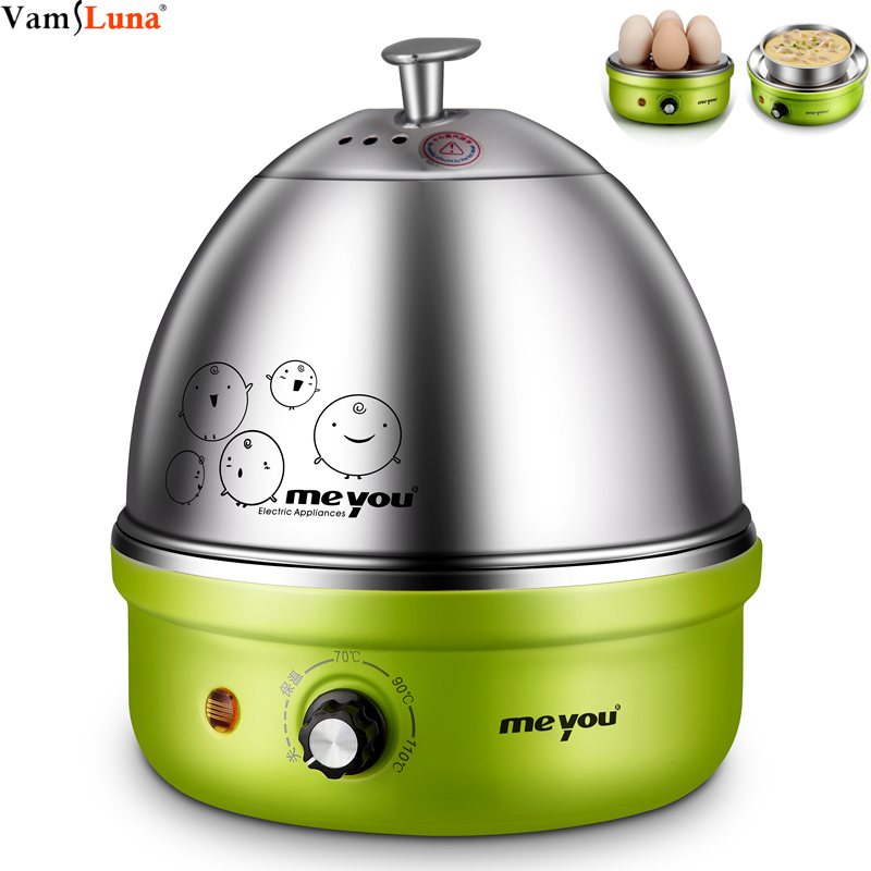 Full Stainless Steel Electric Egg Cooker With Auto Shut Off  Up To 7 Eggs, For Soft, Medium, Hard Boiled, Poached, Custard