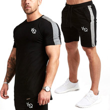 2019 brand Sets Gyms Mens T Shirts Shorts splice Tracksuit Summer Hot Cotton Comfortable Casual short sleeve and shorts