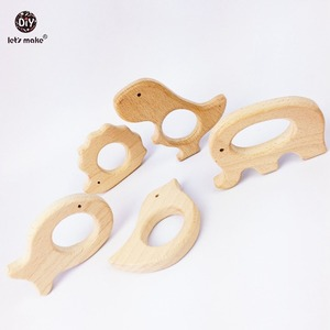 Image 4 - Lets Make Baby Teether Natural Wooden Shape Animals Teether Toy 20PC Unfinished Animal Beads Baby Safe Sensory Grasping Toy