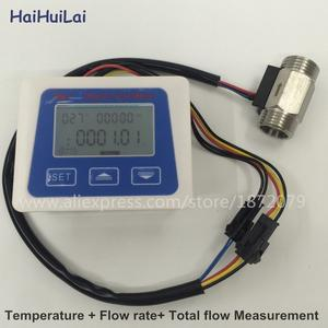 "Digital flow meter+ Stainless steel flow sensor 1/2"" Temperature sensor"