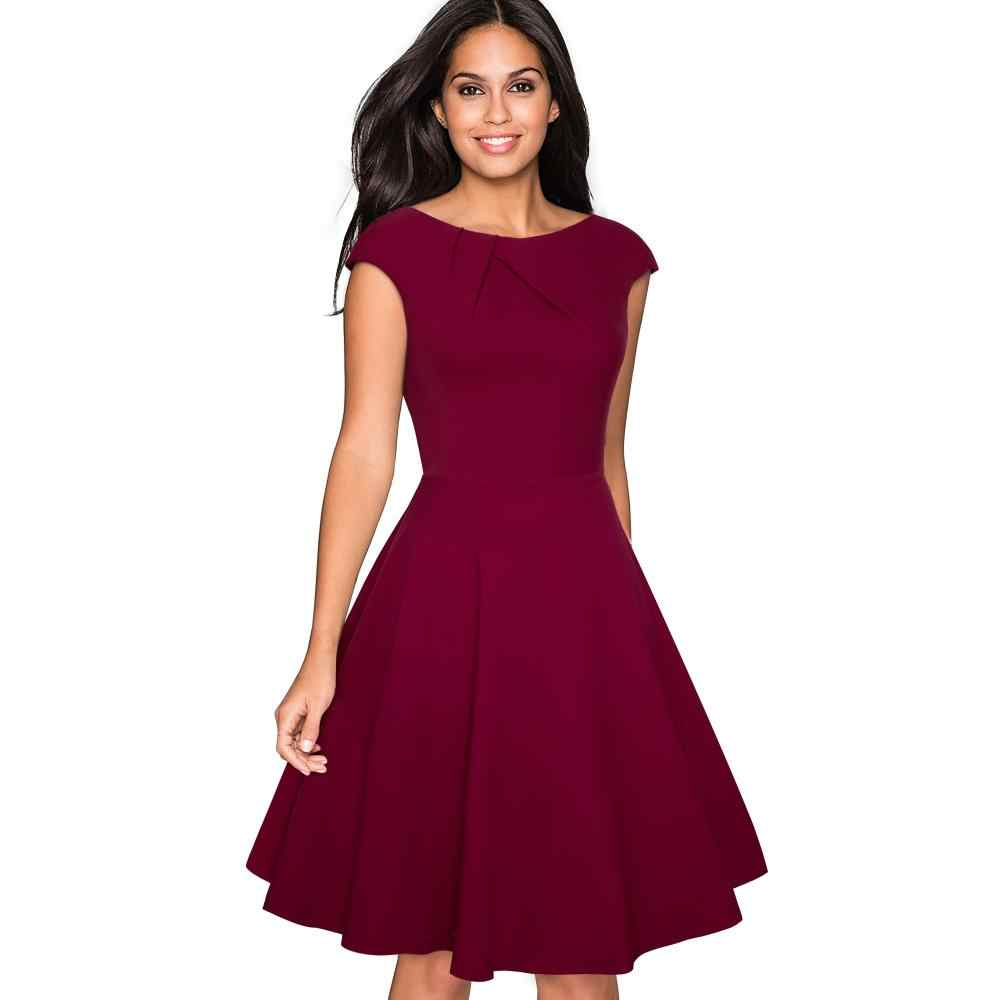 Women Elegant Summer Solid Color Ruched Cap Sleeve Casual Wear To Work Office Party Fitted Skater A-Line Swing Dress EA067