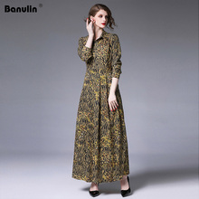 Banulin Runway Autumn Long Sleeve Maxi Dresses Womens Vintage Floral Leopard Printed Custom Big Size Robe Dress