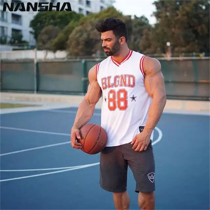 NANSHA   Tank     Top   Bodybuilding Men Summer Cotton Gyms shirts Casual Elastic Sportin Sweatshirt Fitness Sleeveless Undershirt Men T