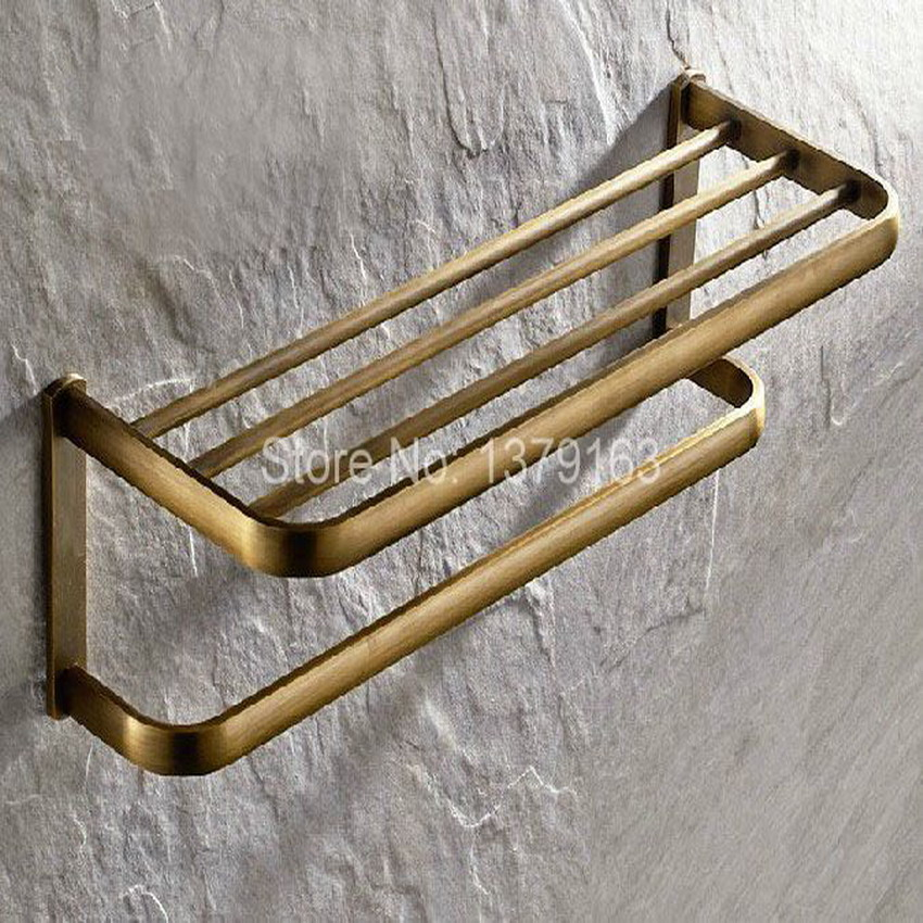Bathroom Accessory Vintage Retro Antique Brass Wall Mounted Bathroom Towel Rail Holder Storage Rack Shelf Bar aba172 whole brass blackend antique ceramic bath towel rack bathroom towel shelf bathroom towel holder antique black double towel shelf