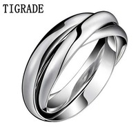 Multi Layer Stainless Steel Ring Women High Polished Silver Triple Dome Interlocked Rolling Wedding Band Cross