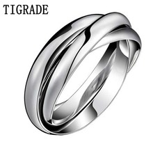 Multi-layer Stainless Steel Ring Women High Polished Silver Triple Dome Interlocked Rolling Wedding Band Cross Cocktail Ring  недорого