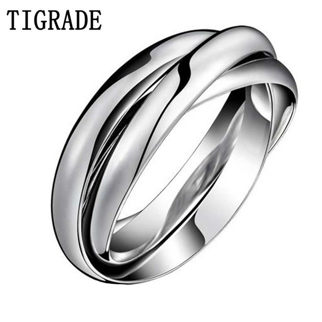 Multi Layer Stainless Steel Ring Women High Polished Silver Triple Dome Interlocked Rolling Wedding Band
