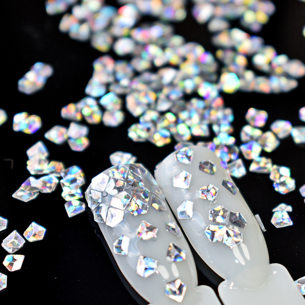 4 schachtel/los 3D Diamant Form Nagel Flakies Sparkle Pailletten ...