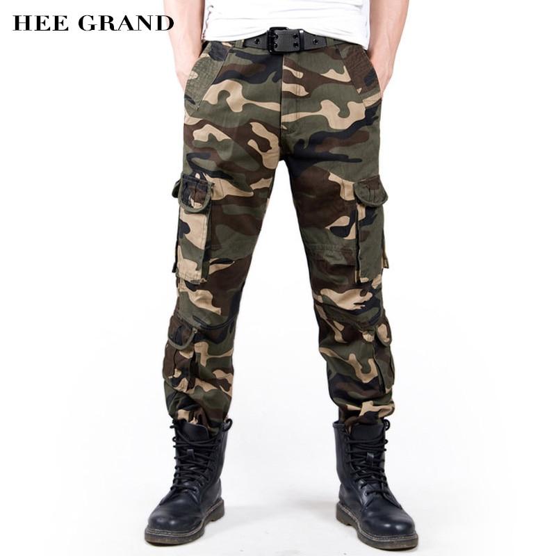HEE GRAND Hommes De Mode Camouflage Pantalon Lâche Style Coton Matériel Multi-poches Mid-taille Pantalon Cargo MKX1036