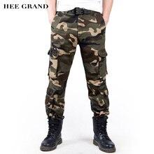 Hee Grand/Для мужчин модные камуфляжные Брюки для девочек свободные Стиль хлопок Материал мульти-карманы на талии брюки-карго Мотобрюки MKX1036