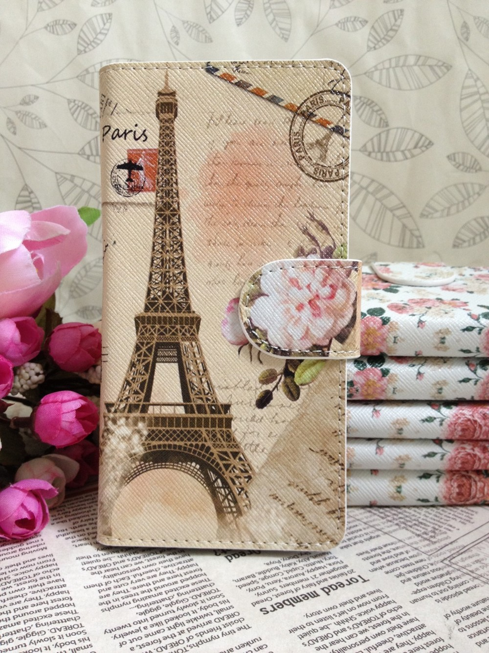 Free Shipping Flower Paris Eiffel Tower Leather Whole Cover Case for Samsung Galaxy S2 SII i9100