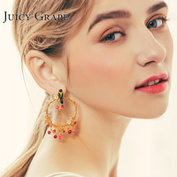 Juicy Grape 2019 New Enamel Glaze Oriole Bird Cherry Earring 925 Silver Needle Stud Earrings Women Christmas Fashion Jewelry