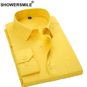 SHOWERSMILE Social Shirt Yellow Clothing Men Dress Spring Long-Sleeve Business Male Brand