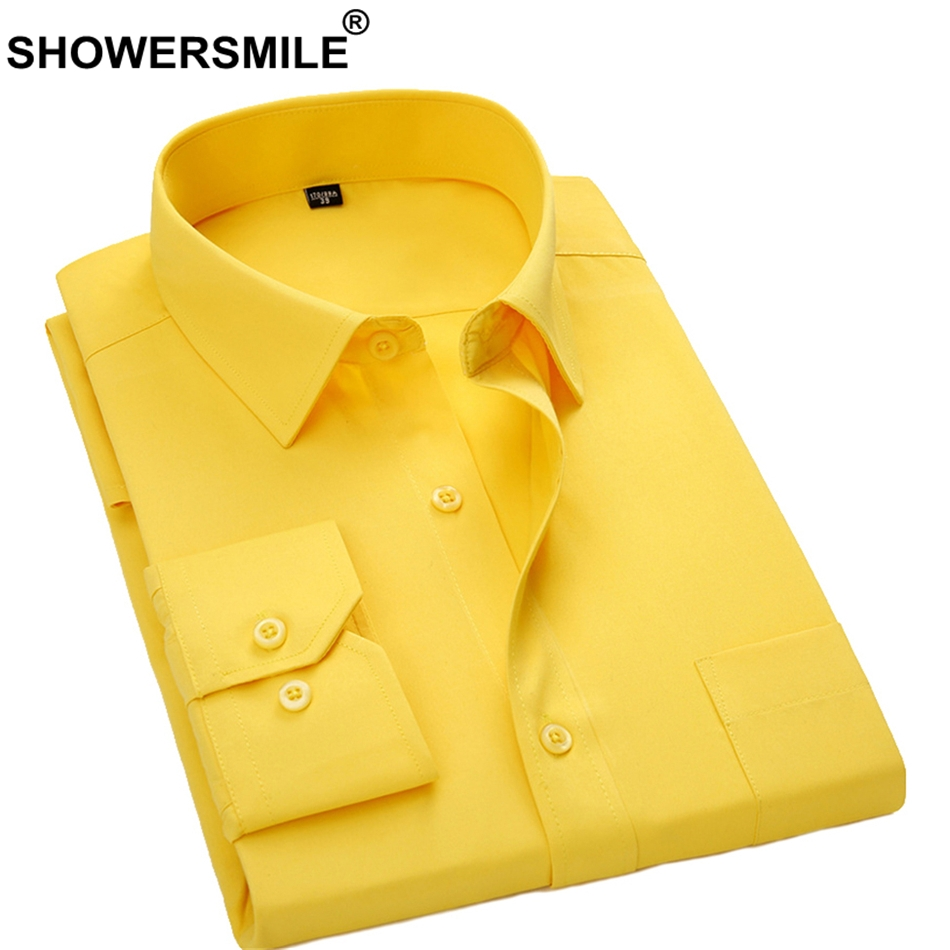 SHOWERSMILE Males Gown Shirt Lengthy Sleeve Formal Shirt Yellow Spring Autumn Enterprise Huge Dimension 4xl Male Social Shirt Model Clothes Gown Shirts, Low cost Gown Shirts, SHOWERSMILE Males Gown...