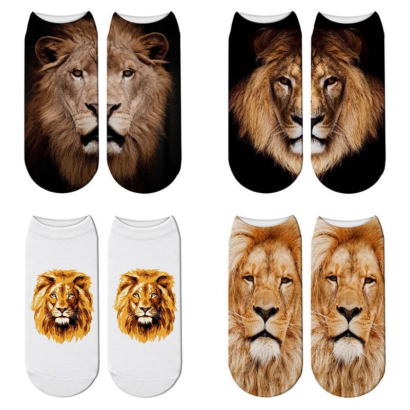 Lovely Lion Cartoon 3d Printing Socks Harajuku Woman Funny Animal Kawaii Stretch Ankle Socks Calcetines Lion Girl Socks