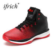 Ifrich New Arrival Basketball Shoes for Men Lace Up High Sneakers Men Rubber High Top Red White Basket Sport Leather Boots