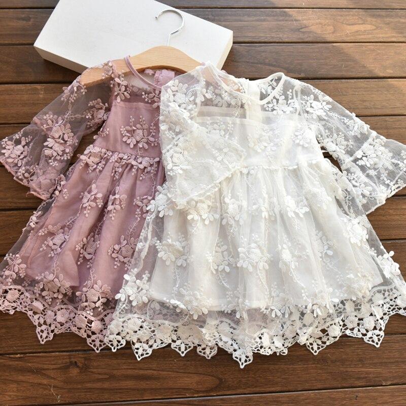 Lace Flowers Girls Dresses Summer 2018 Children Tutu Princess Dresses For Girls Baby Print Girl Party Dress Kids Girls Clothes
