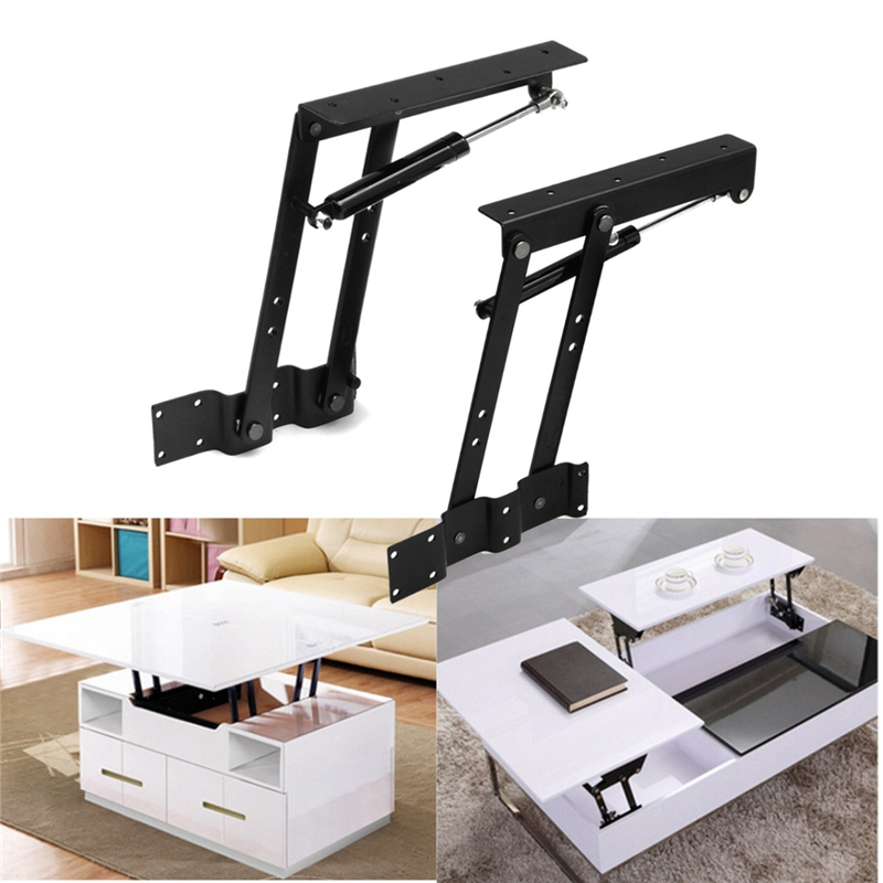 2Pcs Folding Spring Tea Table Hinge Furniture Lift Up Top Mechanism Hardware Lifting Rack Shelf For Coffee Computertable
