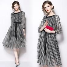 купить Spring new lace waist tie slim dress women's fashion temperament elegant party dress онлайн