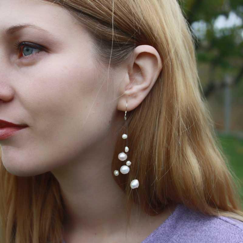 ASHIQI สีขาวธรรมชาติน้ำจืดไข่มุก bohemian ต่างหู 925 เงินสเตอร์ลิงยาว Tassels Dangle ต่างหูสำหรับของขวัญสตรี