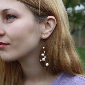 Image 5 - Ashiqi Wit Natuurlijke Zoetwater Barok Parel Bohemian Oorbellen 925 Sterling Zilver Lange Kwasten Dangle Oorbellen Voor Vrouwen Geschenken