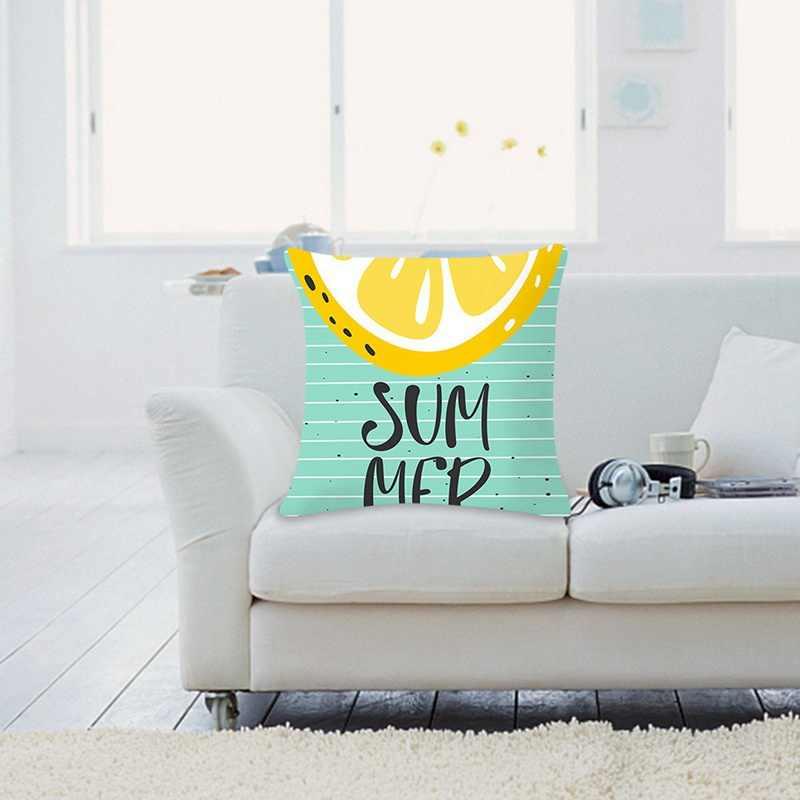Verão Nórdico Trópico Abacaxi Limão Melancia Capa Lance Capa de Almofada Impresso Capa de Almofada Sofá Cama Fronha Decorativa