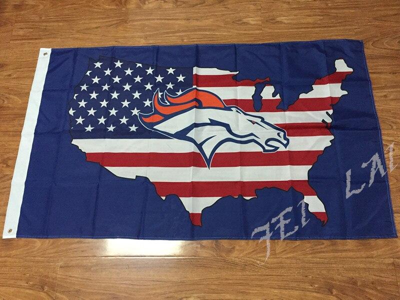 Denver Broncos bandeira Americana bandeira 3x5FT 100D Poliéster logotipo DA  NFL 2805049fd5111