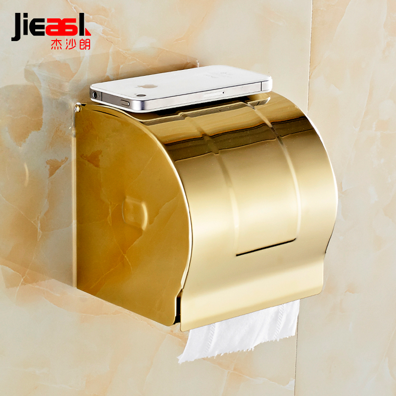 304 Stainless Steel Paper Holder Roll Tissue Holder Hotel Works Toilet Roll Paper Tissue Holder Box European-style Gold 107 space aluminum paper holder roll tissue holder hotel works toilet roll paper tissue holder box waterproof design
